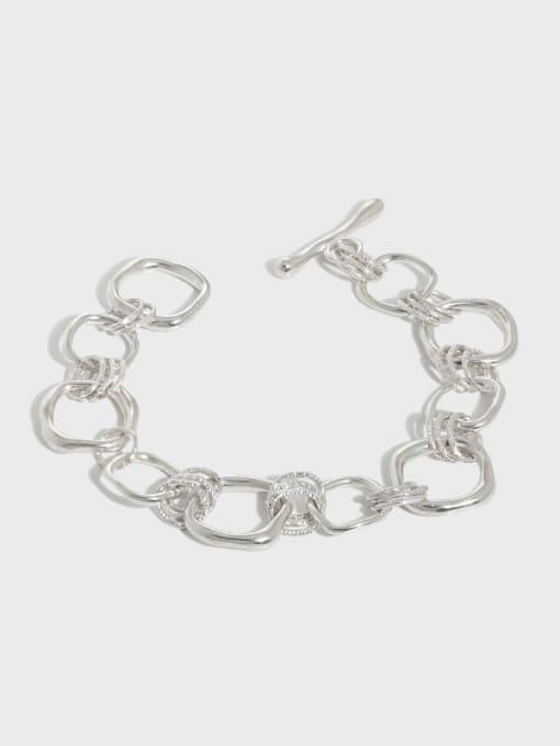 DAKA 925 Sterling Silver Geometric Vintage Link Bracelet