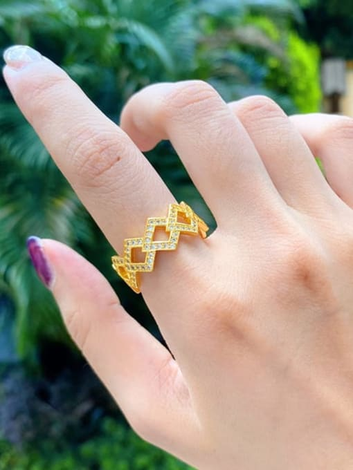 DUDU Brass Cubic Zirconia Geometric Luxury Band Ring 1