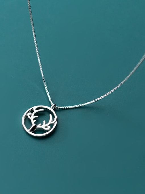 Rosh 925 Sterling Silver Simple Round  antlers  Necklace 1