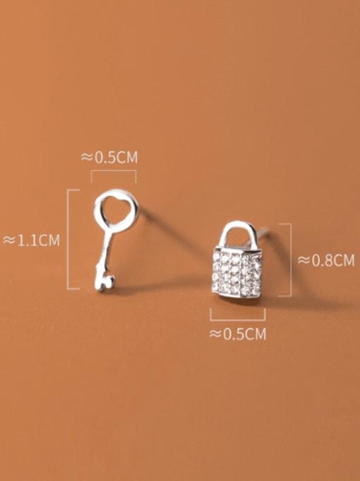Rosh 925 Sterling Silver Cubic Zirconia Key Cute Stud Earring 3