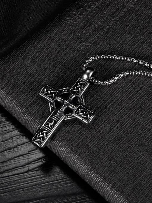 Open Sky Titanium Steel Vintage Cross Pendant 3