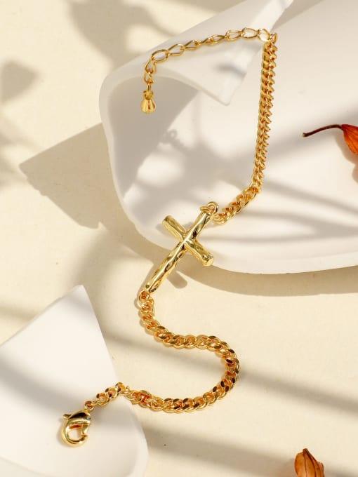 CHARME Brass Cross Minimalist Hollow  Chain Link Bracelet 1