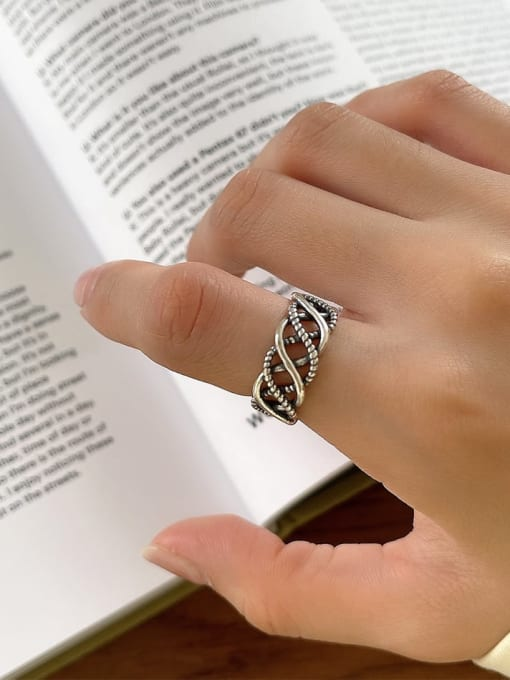 Wave point knitting ring J132 4G 925 Sterling Silver Geometric Vintage Band Ring