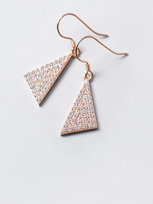 Rosh 925 Sterling Silver Cubic Zirconia Triangle Dainty Hook Earring 3