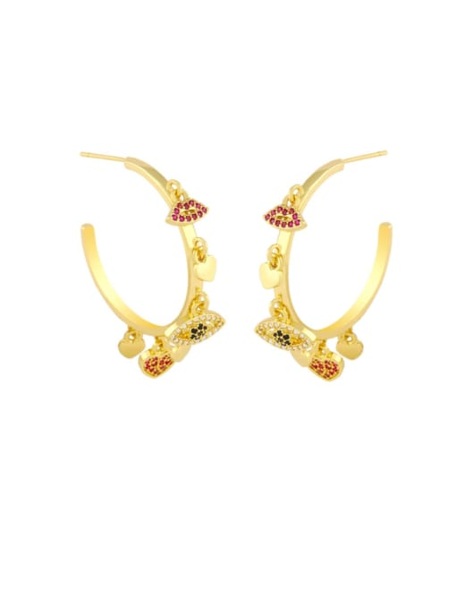 gold Brass Cubic Zirconia Mouth Vintage Huggie Earring