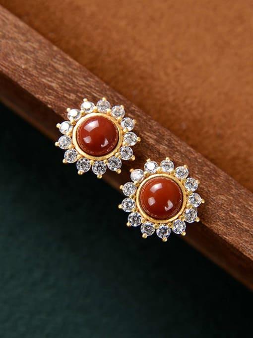South Red 925 Sterling Silver Jade Flower Cute Stud Earring