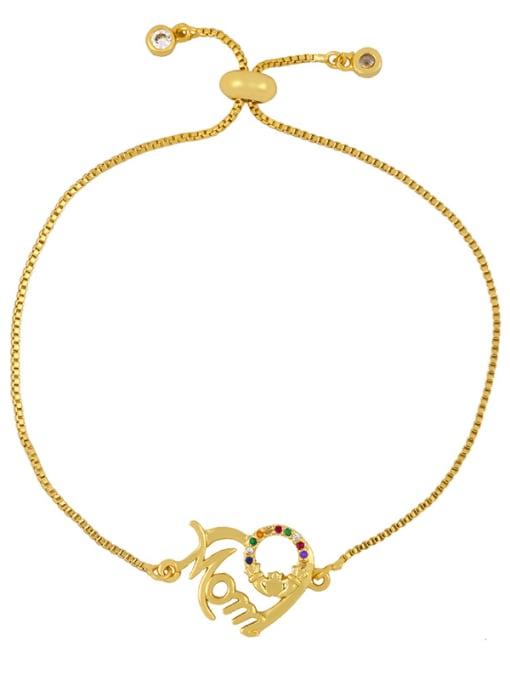 CC Brass Cubic Zirconia Letter Vintage Adjustable Bracelet