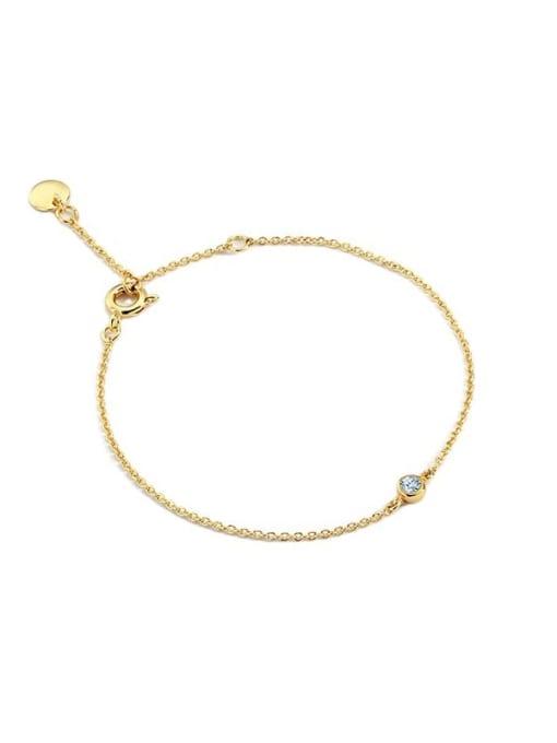 CHARME Brass Rhinestone Geometric Minimalist Link Bracelet 3