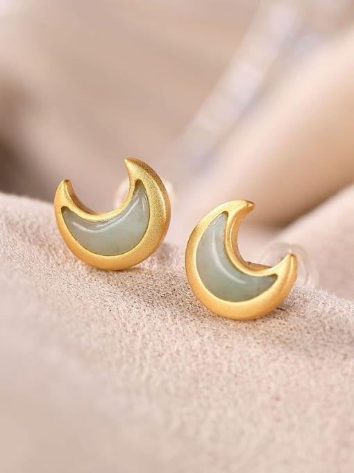DEER 925 Sterling Silver Jade Moon Cute Stud Earring