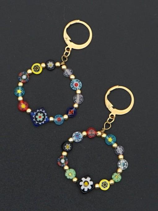 Roxi Stainless steel Glass  bead  Flower Ethnic Drop Earring 2