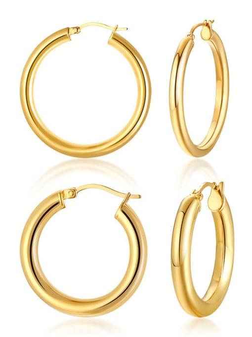 CONG Titanium Steel Round Minimalist Huggie Earring
