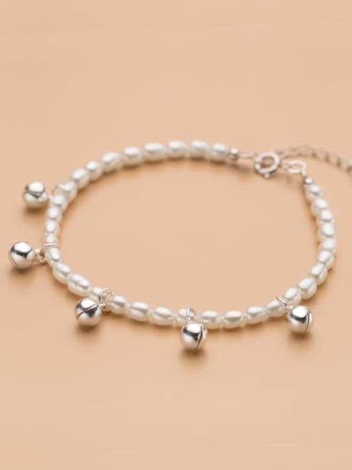 Rosh 925 Sterling Silver Imitation Pearl Bell Minimalist Beaded Bracelet 2