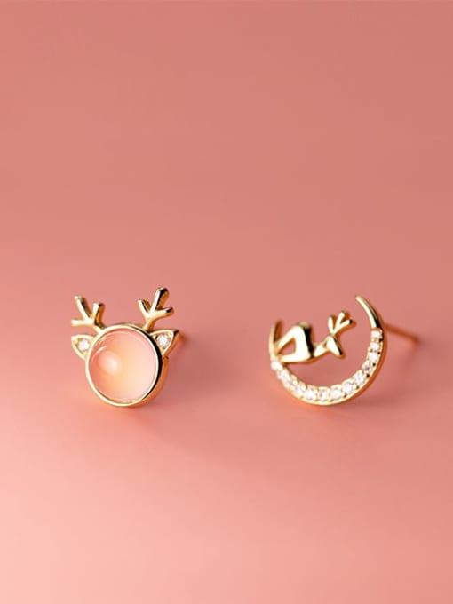 gold 925 Sterling Silver Cats Eye Cute  Asymmetry Deer  Stud Earring