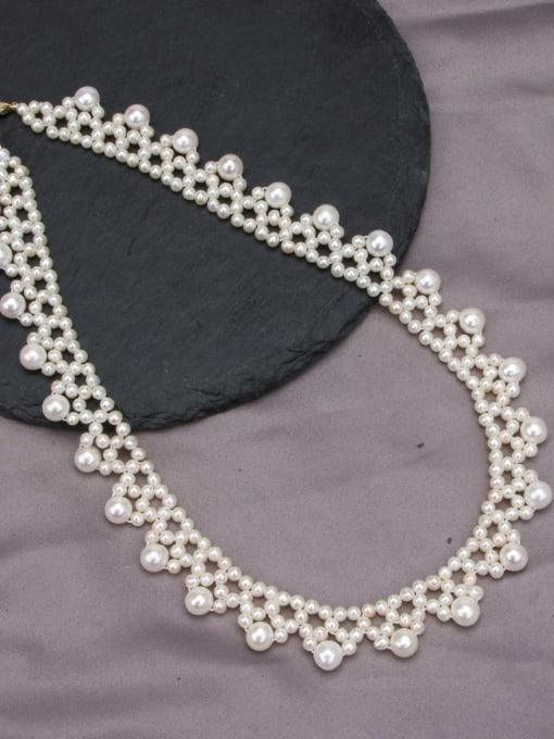 white Brass Freshwater Pearl Flower Vintage Choker Necklace