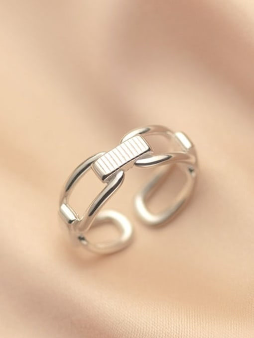 Rosh 925 Sterling Silver Hollow Geometric Vintage Band Ring 0