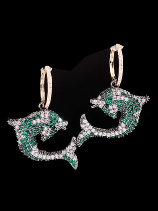 Green Brass Cubic Zirconia Dolphin Trend Huggie Earring