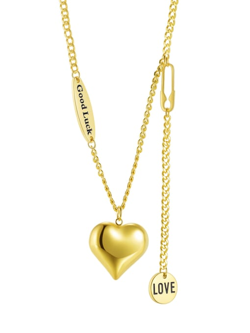 1995 gold Titanium Steel Heart Minimalist Lariat Necklace