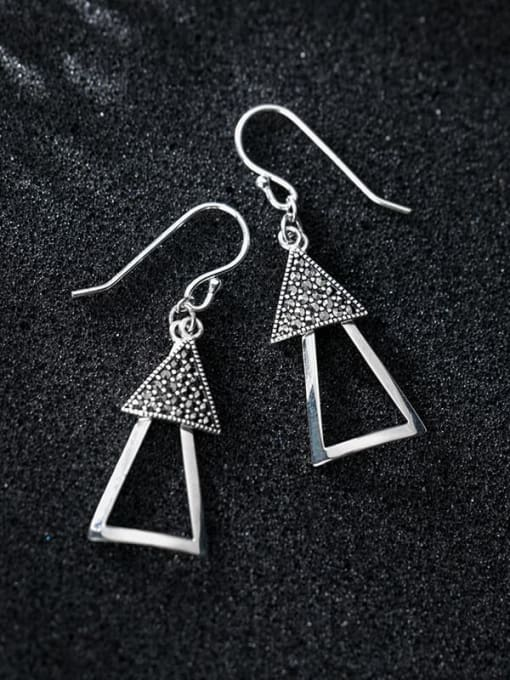 Rosh 925 Sterling Silver Retro Geometric Triangle  Vintage Drop Earring 1