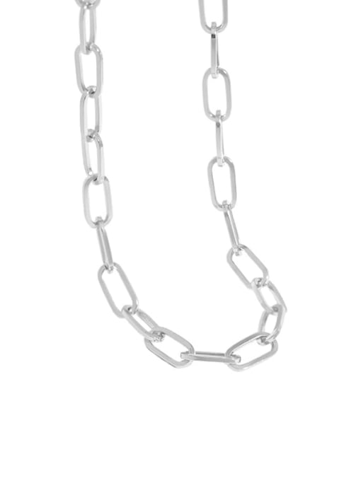 silvery 925 Sterling Silver Hollow Geometric Chain Vintage Necklace