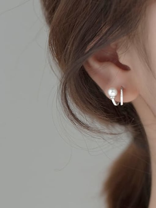 Rosh 925 Sterling Silver Imitation Pearl Irregular Minimalist Stud Earring 2