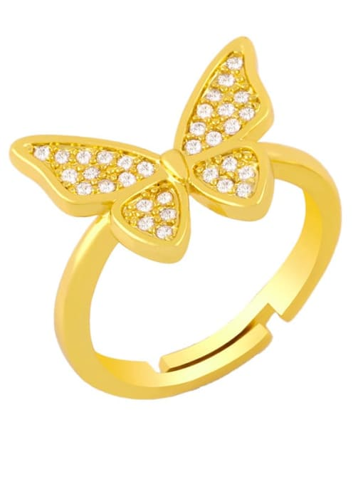 A Brass Cubic Zirconia Butterfly Vintage Band Ring