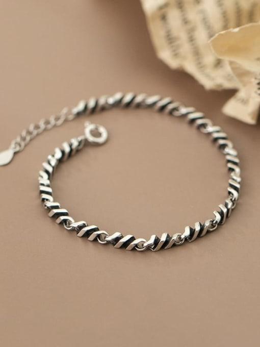 Rosh 925 Sterling Silver Irregular Vintage Link Bracelet