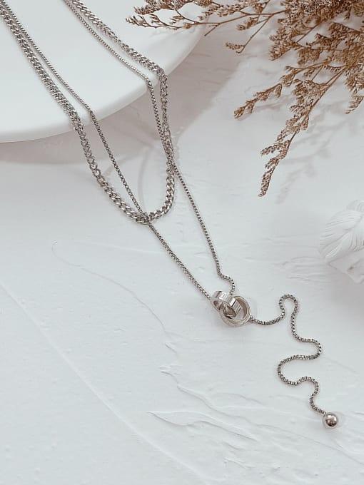 Open Sky Titanium Steel Tassel Minimalist Lariat Necklace 2