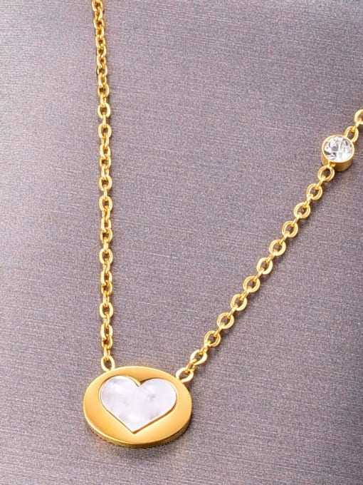 A TEEM Titanium Shell Heart Minimalist Necklace 0