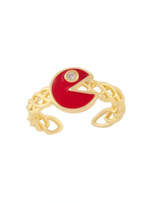 red Brass Enamel Geometric Vintage Band Ring