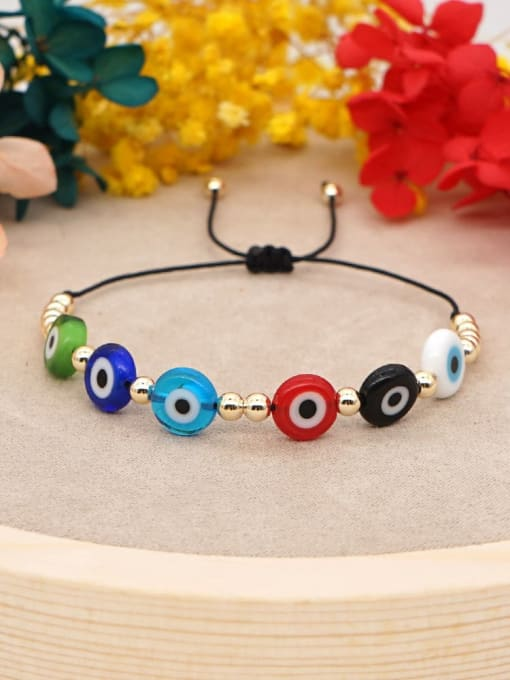 Roxi Stainless steel Glass Bead Multi Color Evil Eye Bohemia Adjustable Bracelet 0