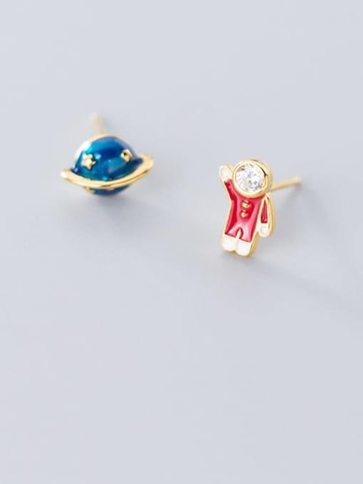 Rosh 925 Sterling Silver  Minimalist Cute cartoon astronaut stylish blue planet  Stud Earring 0