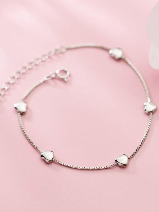 Rosh 925 Sterling Silver Heart Minimalist Link Bracelet
