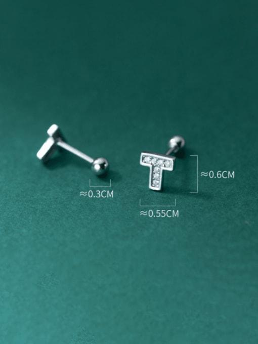 Rosh 925 Sterling Silver Cubic Zirconia Asymmetry  Cross Cute Stud Earring 3