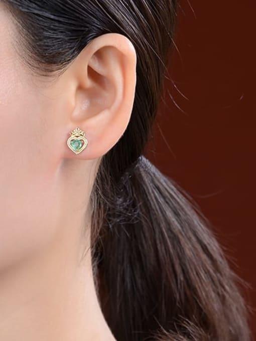 DEER 925 Sterling Silver Cubic Zirconia Irregular Vintage Stud Earring 1