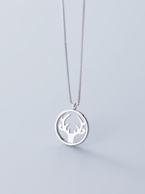 Rosh 925 Sterling Silver Simple Round  antlers  Necklace 2