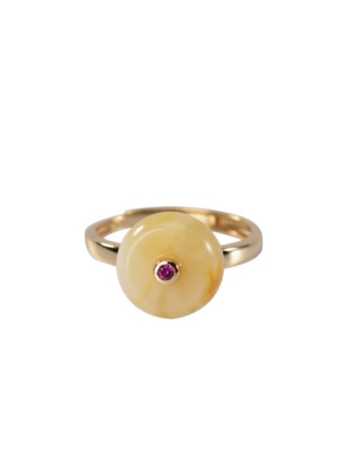 DEER 925 Sterling Silver Amber Round Ethnic Band Ring 3