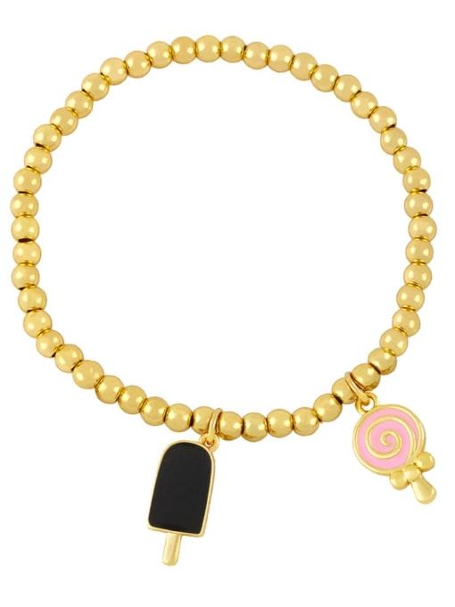 Black pink Brass Enamel Heart Vintage Beaded Bracelet