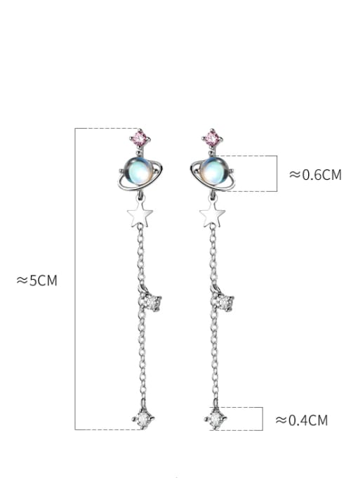 Rosh 925 Sterling Silver Glass Stone Tassel Minimalist Threader Earring 2