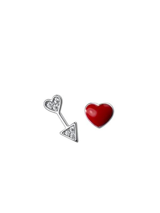 Rosh 925 Sterling Silver Enamel Asymmetric red love  Heart Minimalist Stud Earring 3