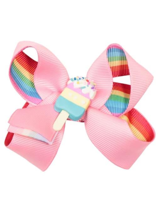 1 Pink rainbow ice cream Alloy  Fabric Cute Bowknot Multi Color Hair Barrette