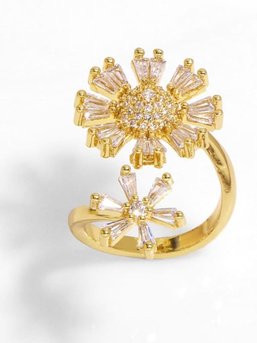 A Brass Cubic Zirconia Flower Trend Band Ring