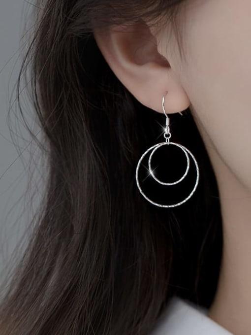 Rosh 925 Sterling Silver Geometric Minimalist Hook Earring 1