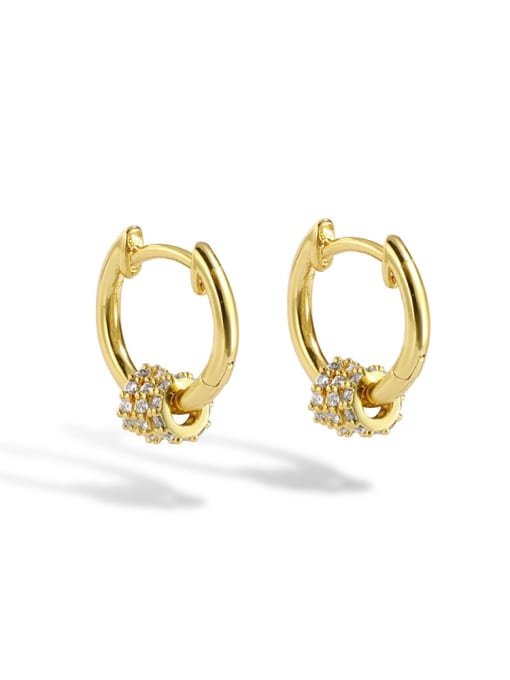 Gold Brass Cubic Zirconia Round Minimalist Huggie Earring
