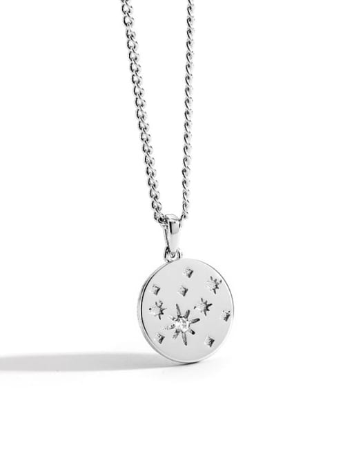 Rhodium disc Diamond Star Necklace Brass Rhinestone Round Minimalist Necklace