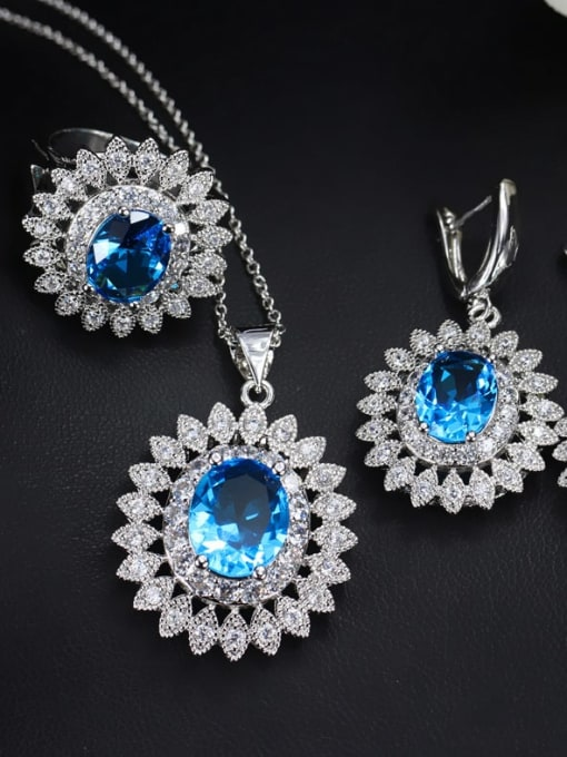 Sea blue ring size 7 Brass Cubic Zirconia  Dainty Geometric Earring Ring and Necklace Set