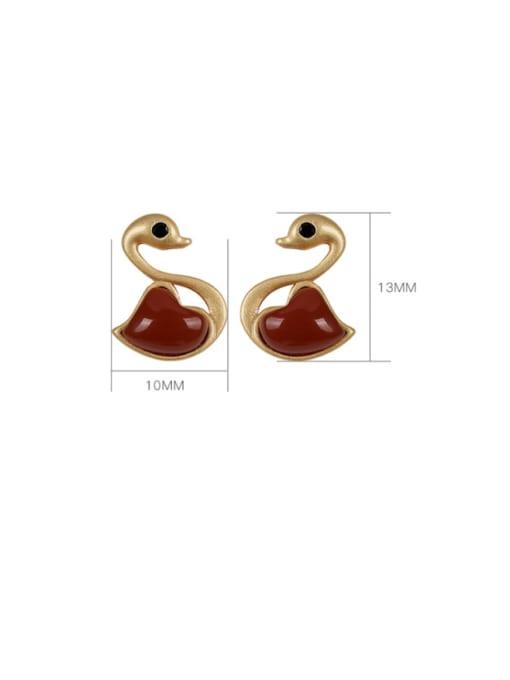 DEER 925 Sterling Silver Carnelian Swan Cute Stud Earring 4