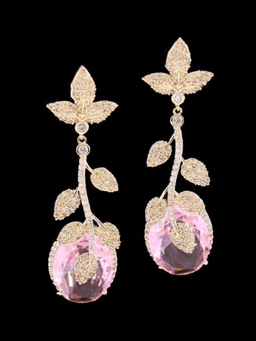 Golden +white Brass Cubic Zirconia Flower Luxury Drop Earring