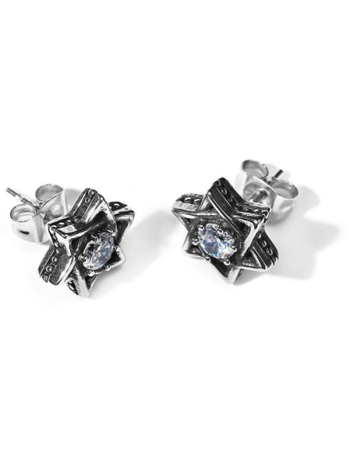 CONG Stainless steel Cubic Zirconia Flower Vintage Stud Earring