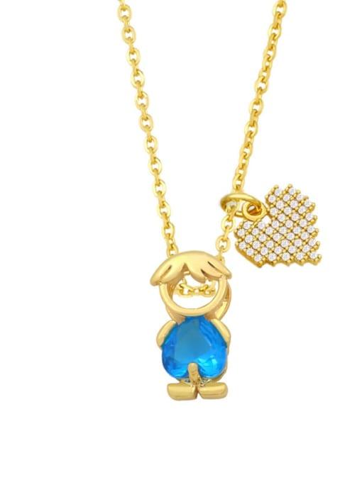 A boy blue Brass Cubic Zirconia Enamel Angel Cute Necklace