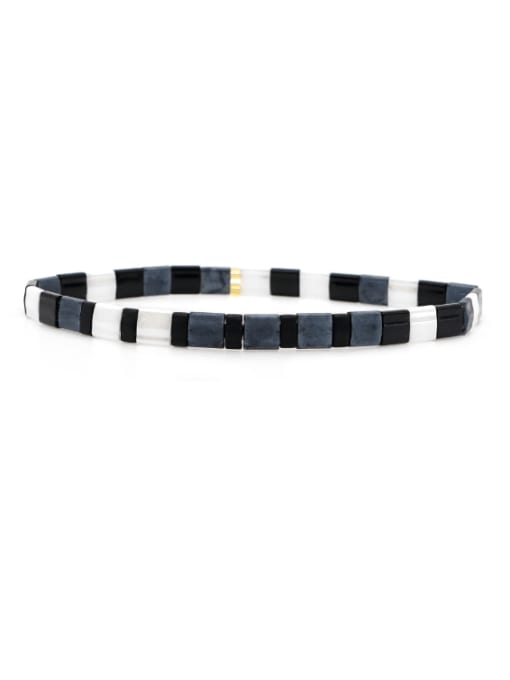 Roxi Stainless steel Tila Bead White Geometric Bohemia Handmade Weave Bracelet 0